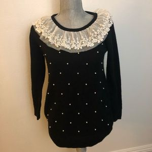 Vintage 80s Lace Collar Pearl Black Sweater L